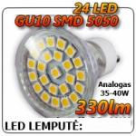 LED Lemputė 24 LED SMD GU10 140° šilta 330 lm 3.5W